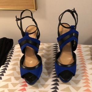 Blue Suede and Black Leather strapped heels
